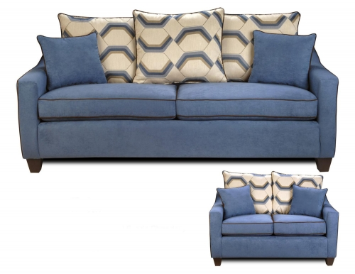 Georgia Sofa Set - Victory Galaxy/Sussex Cobalt