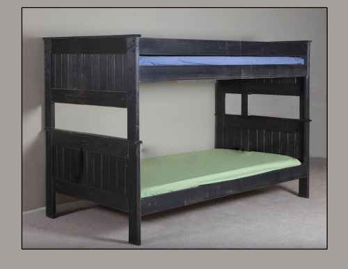 Full/Full Stackable Bunk Bed - Black Distressed