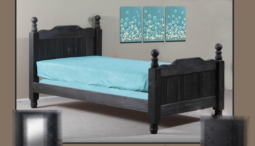 Full Cannonball Panel Post Bed - Black Distressed