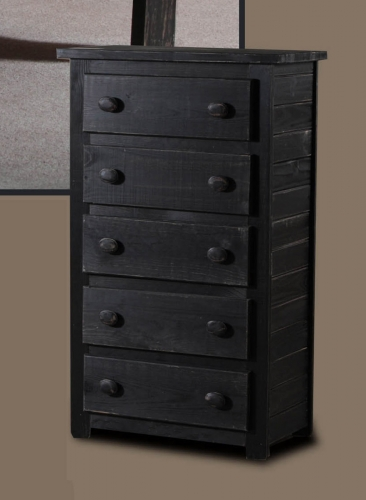 5 Drawer Chest - Black Distressed
