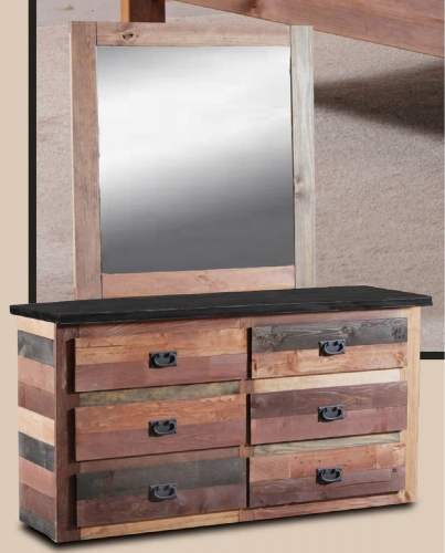 6 Drawer Dresser with Jumbo Mirror - Multi-Color
