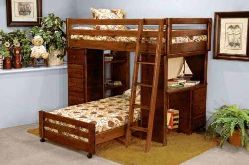 3524796-4452 Twin Over Twin Loft Bed with Desk and Chest Ends - Cocoa