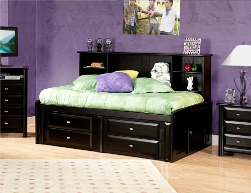 Chelsea Home 3534510-4512 Twin Bed with Bookcase and Storage - Black Cherry