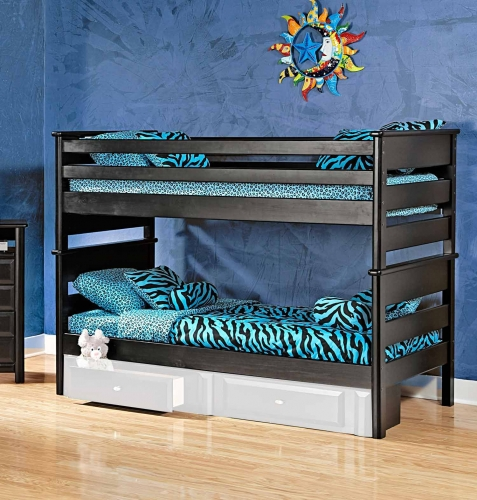 3534520-4521 Twin Over Twin Bunk Bed - Black Cherry