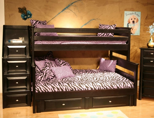 3534522-4526-S Twin Over Full Bunk Bed with Storage and Stairway Chest - Black Cherry