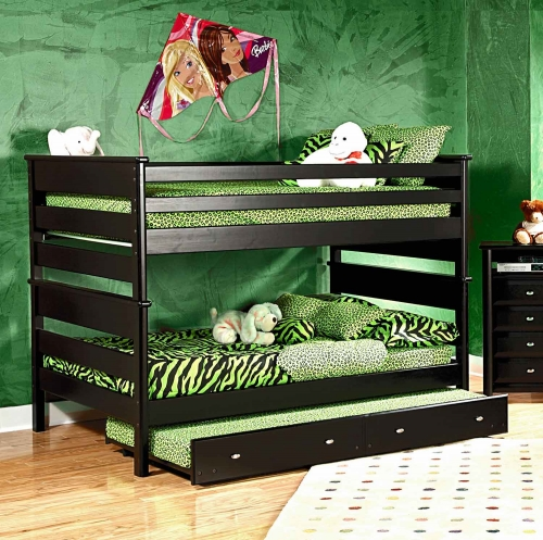 3534524-4547-T Full Over Full Bunk Bed with Trundle Unit - Black Cherry