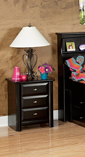 Chelsea Home 3534538 3 Drawer Nightstand - Black Cherry