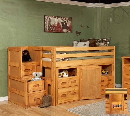 3544136-4139 Twin Junior Loft Bed with Storage and Stairway Chest - Cinnamon
