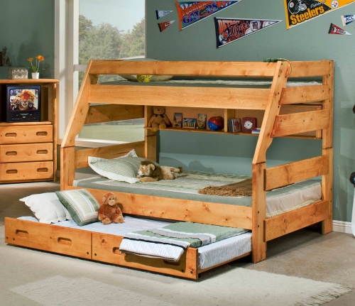 3544720-4739-T Twin Over Full Bunk Bed with Trundle - Cinnamon