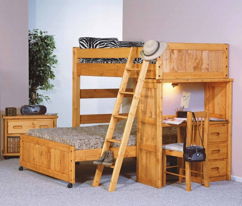 3544742-4737 Twin Over Full Loft Bed with Desk End - Cinnamon