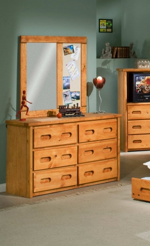 3544775-4780 6 Drawer Dresser with Mirror - Cinnamon
