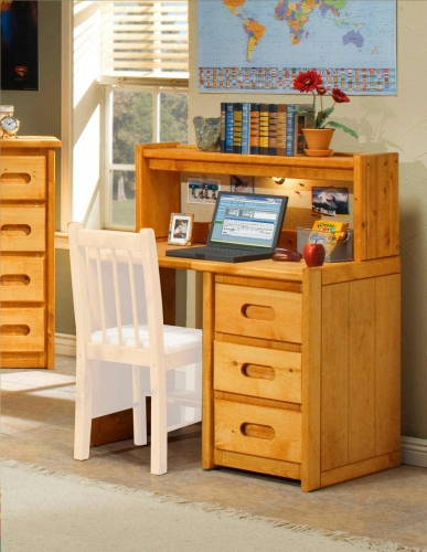 3544785-4788 3 Drawer Student Desk with Hutch - Cinnamon
