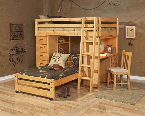 3544797-4793 Twin Over Twin Loft Bed with Chest and Desk Ends - Cinnamon