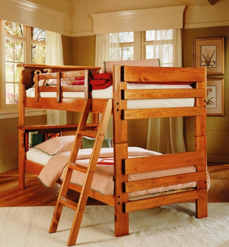 3610001 Twin Over Twin Bookcase Bunk Bed - Honey