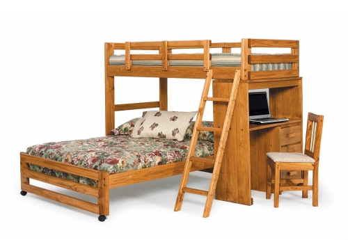 3611001 Twin Over Full Loft Bed with Desk End - Honey