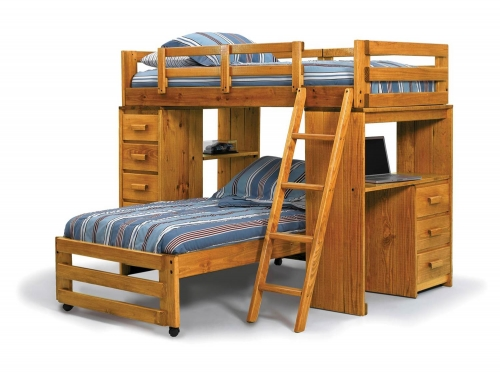 3611501 Twin Over Twin Loft with Desk End - Honey