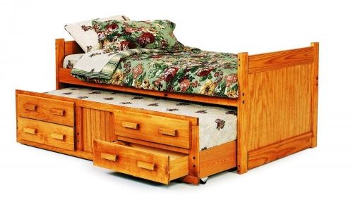 3613501 Twin Captains Bed with Trundle and Storage - Honey
