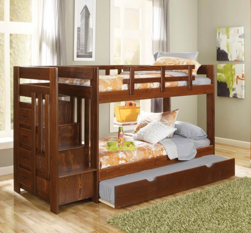 361542-TR Twin Over Twin Reversible Stair Bunk Bed with Trundle - Dark