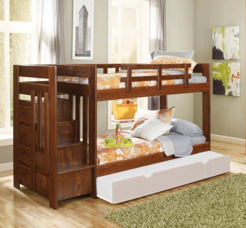 361542 Twin Over Twin Reversible Stair Bunk Bed - Dark