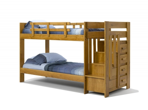 361543 Twin Over Twin Bunk with Reversible Stairway Chest - Honey