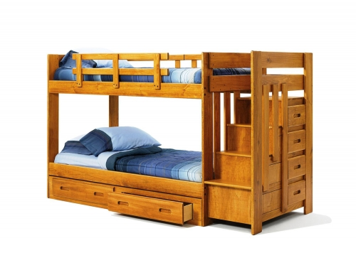 361548-R-S Twin Over Twin Bunk Bed with Reversible Staircase and Underbed Storage - Honey