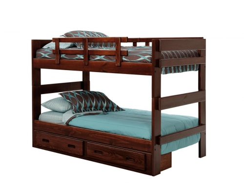 3626023-S Twin Over Twin Stacking Bunk Bed with Underbed Storage - Dark