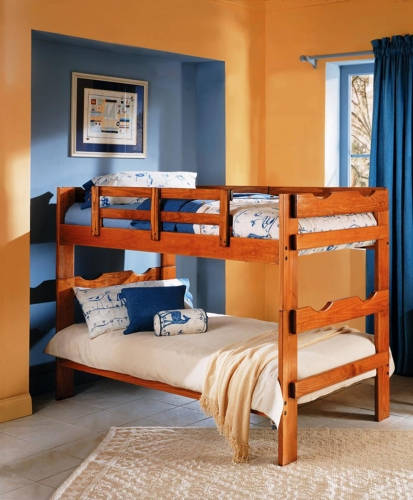 3626031 Twin Over Twin Split Scalloped Bunk Bed - Honey