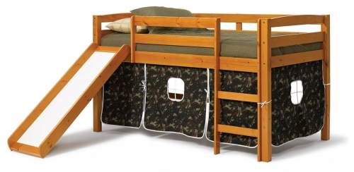 3645000-C Twin Tent Bed with Slide - Honey