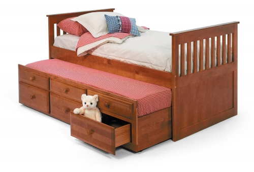 366000 Twin Mission Bed with Trundle - Honey