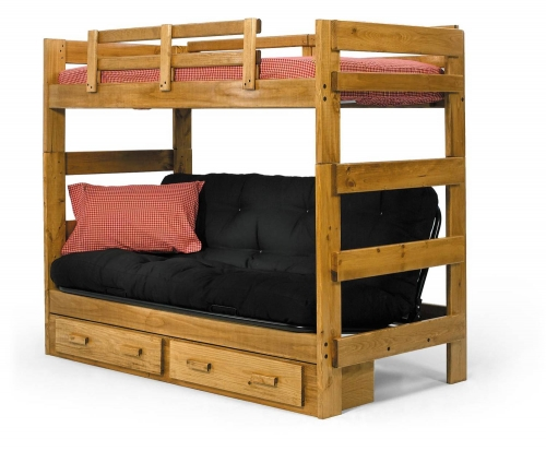 366200-S Twin Over Futon Bunk Bed with Underbed Storage - Honey