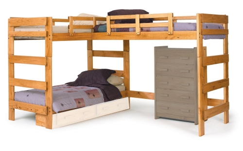 3662008 L Shaped Loft Bed - Honey