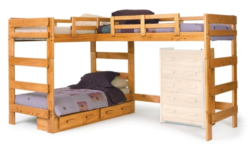 3662008-S L Shaped Loft Bed with Underbed Storage - Honey