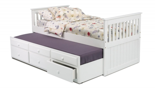 366500 Twin Mission Bed with Trundle and Storage - White