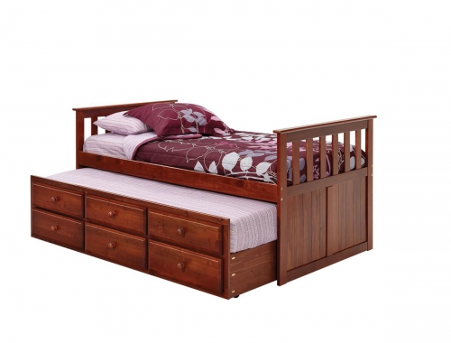366700 Twin Mission Style Captains Bed with Trundle and Storage - Dark