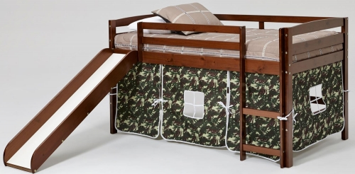 Camo Tent Loft Bed with Slide - Chocolate