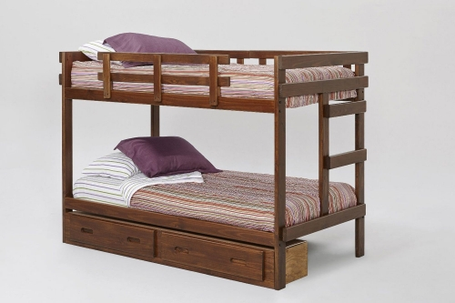 Twin Over Twin Rustic Bed with Storage - Rustic Brown