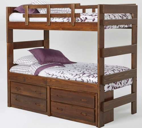 Twin Over Twin Extra Tall Bunk Bed - Rustic Brown