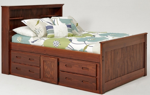 Full Captains Bed with Bookcase - Chocolate