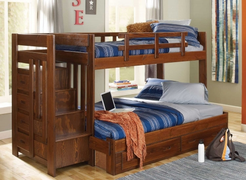 Twin Over Full Reversible Bed with Stairway - Chocolate