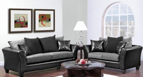 Gamma Sofa Set - Jefferson Black/Sierra Graphite
