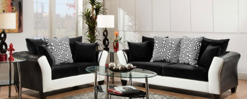 Tau Sofa Set - Jefferson Black/Avanti White
