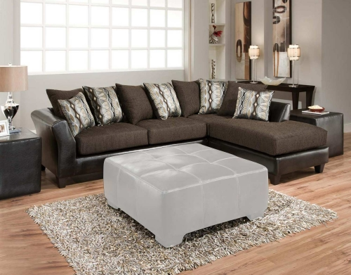 Zeta 2 Piece Sectional Sofa - Jefferson Chocolate/Rip Sable