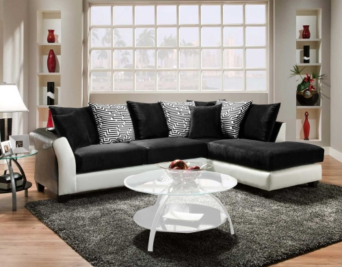 Lambda 2 Piece Sectional Sofa - Jefferson Black/Avanti White