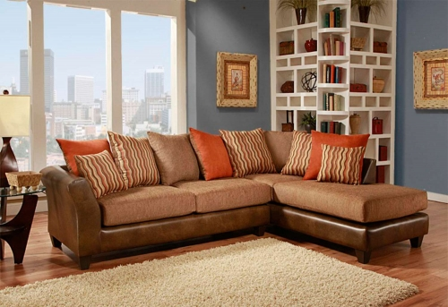 Iota 2 Piece Sectional Sofa - McLarin Saddle/Council Mocha