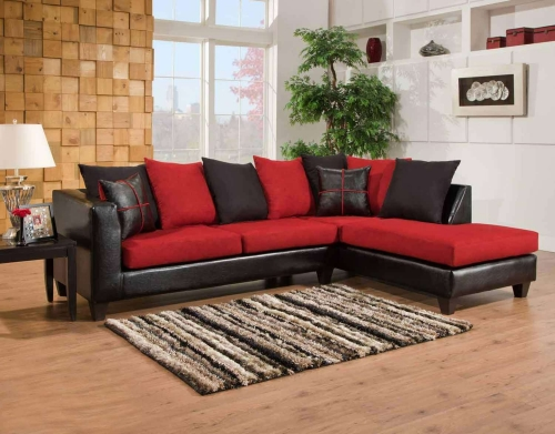 Mu 2 Piece Sectional Sofa - Jefferson Black/Victory Lane Cardinal