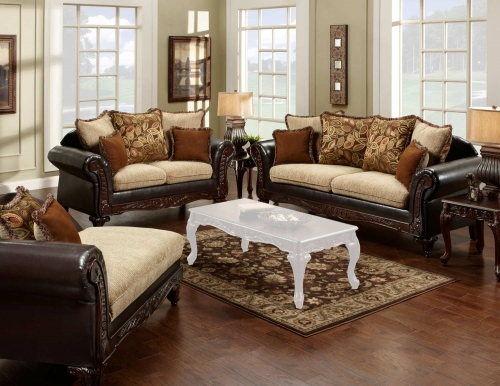 Trixie Sofa Set - Radar Havana/Bi-Cast Brown