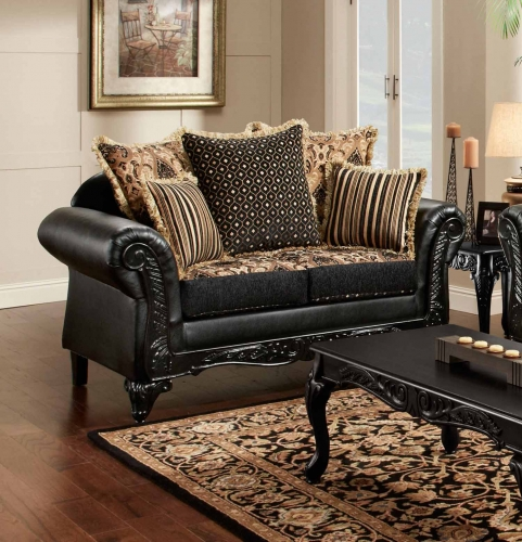 Gwendolyn Loveseat - Monte Carlo Ebony/Bi-Cast Ebony
