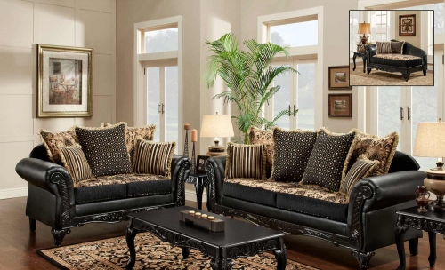 Gwendolyn Sofa Set - Monte Carlo Ebony/Bi-Cast Ebony