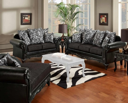 Lolita Sofa Set - Bi-Cast Ebony/Jericho