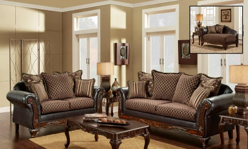 Amelia Sofa Set - Sienna Brown/Bi-Cast Brown